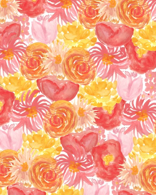 bouffantsandbrokenhearts:  Colorful Blooms.  latest #floral print! #flowers #pattern #illustration #painting
