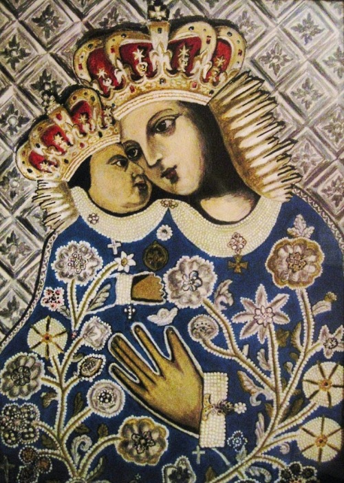 Matka Boża Kalwaryjska The miraculous image of Our Lady of Tears in the basilica of Our Lady of the Angels in Kalwaria, Poland. It is said that in 1641 a local man witnessed the imagine shedding tears of blood.