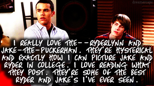 gleerpconfessions:  I really love the—ryderlynn and jake-the-puckerman. They're hysterical and exactly how I can picture Jake and Ryder in college. I love reading what they post. They're some of the best Ryder and Jake's I've ever seen.