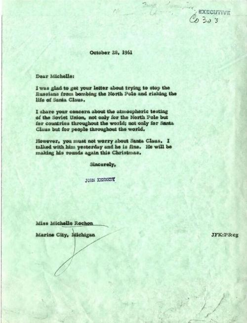 Letter from the JFK Library and Museum in Boston. From President Kennedy to a little girl named Michelle, 1961.
