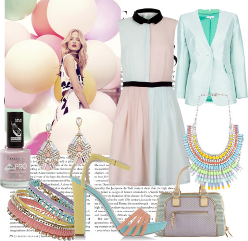 Pastel Frenzy by hollywoodfashionista featuring tom binns necklaceCarven  jacket, $670 / René Caovilla high heel sandal / ALDO color block bag / Tom Binns  necklace / Dorothy Perkins rhinestone bracelet / ALDO  earrings / Rimmel  nail polish, $14