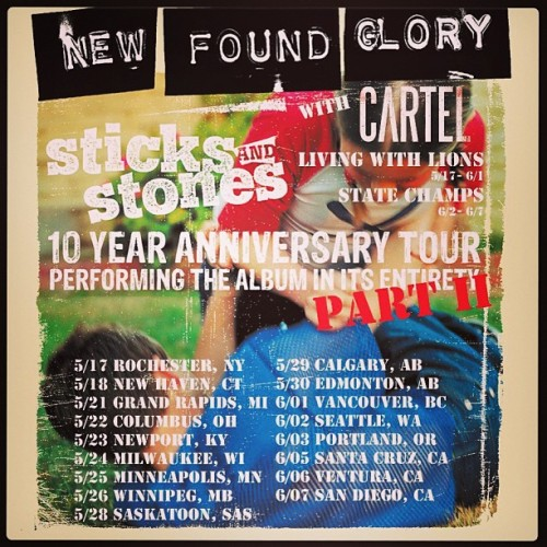 The Sticks and Stones tour is coming up pretty quick! We hope you guys are as stoked as we are! Head on over too newfoundglory.frontgatetickets.com for tickets and show details.