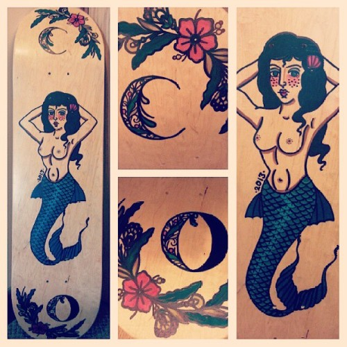 chloeomalley:  Started painting this skateboard a while back, managed to finish it today :)