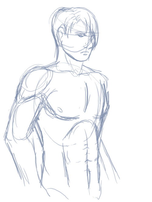 First pass sketch of Jalen's body type.