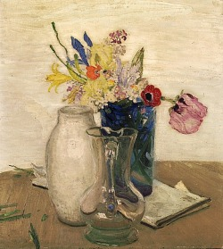 stilllifequickheart:  William Nicholson Flowers and Glass Jug 1935