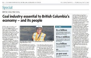 Front of three-page advertorial insert to Globe and Mail's May 1 B.C. section. Stories were outsourced by Globe and provided free of charge to Coal Association, Elections BC was told. The paper has since gotten a bunch of flack over the pro-coal advertorial.