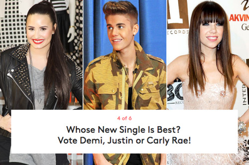 Lovatics, Beliebers and Jepsies, your time is now! Click through to listen to each star's latest single, and then vote for your fave at this link.