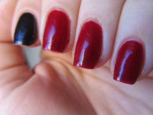 """zoya """"raven"""" and sephora by opi """"mr right now"""" i absolutely love red and black manicures, and this is one of my favorite reds in my collection! mr right now is an awesome darker red jelly polish that is so squishy and glossy. i love it!"""