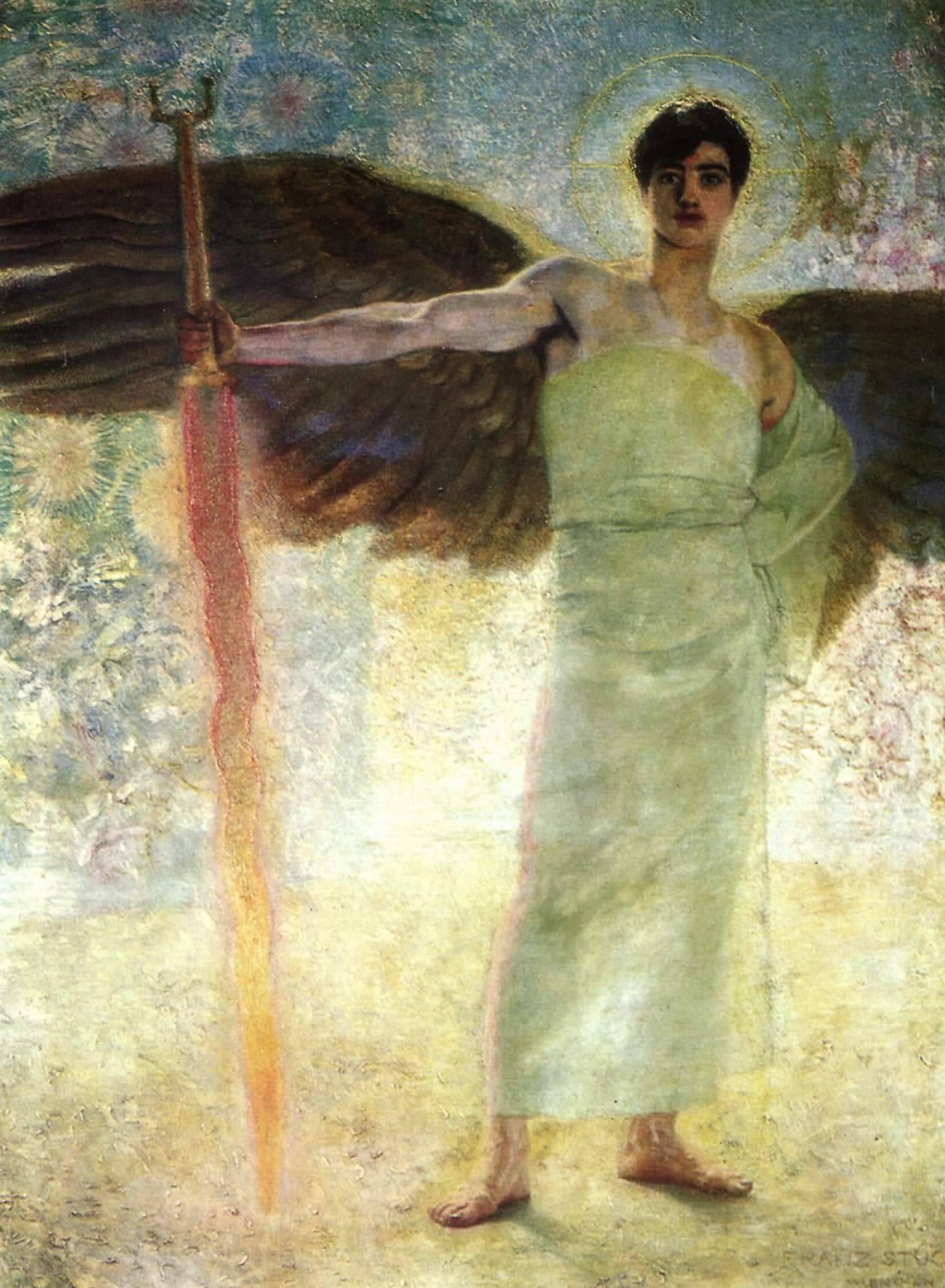 cavetocanvas:  Franz von Stuck, Angel with the Flaming Sword, 1889
