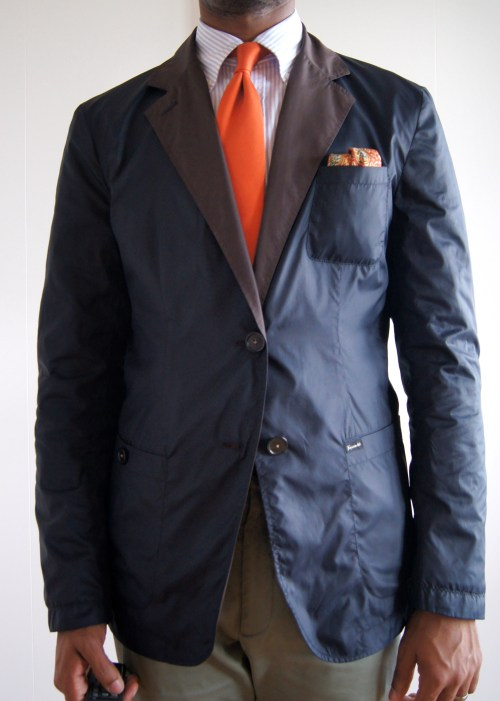 05.08.13 Faconnable reversible nylon waterproof sport coat.  I like this thing a lot, but the fit is not the best.  It can't be tailored because it's reversible.  The armholes are too high, causing some tightness in the biceps and across the back.  The worst part about this jacket is the lapels which are floppy.  The collar does some really weird things sometimes.  I got this on clearance from Park and Bond.  Remember them days.  R.I.P., Park and Bond.