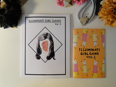 seemstween:  ***ILLUMINATI GIRL GANG GIVEAWAY*** I was cleaning out my room and i found ~2 previously 'lost forever' copies of Illuminati Girl Gang Vol. 1 (the one on the right). The first issue was a ~5x7 handmade, full-color zine featuring work from Grace Miceli, Mira Gonzalez, Luna Miguel, Elaine Sun, Maggie Lee, Stacey Teague + More. (Cover art by Yippy Whippy)  Its a funny thing to be able to concretely see progression. I feel like I am watching my little bb grow up :')  I've decided to do a giveaway for the 2 copies that I found. Reblog this post and follow the IGG blog for a chance to enter (only one entry per person, no matter how many reblogs you manage to reblog). I will pick 2 winners via random number generator and announce the results on February 18th, the release date for IGG Vol. 3.