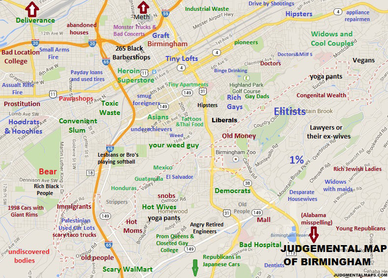 Birmingham, ALby AnonymousCopr. 2014 Judgmental Maps. All Rights Reserved.