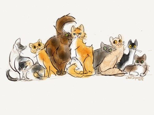 Drawing I did for my mom as a Mother's Day present. All our kitties!