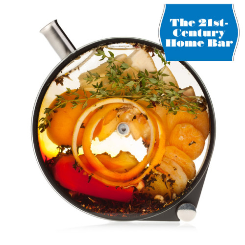 "(Credit: Lara Kastner)The Porthole  Chef Grant Achatz uses this stunning 13-ounce infuser at Aviary in Chicago. It allows combinations of booze, juice, herbs, and fresh fruit to meld as you gradually decant from it. $99; crucialdetail.com Cocktail hour at home doesn't have to mean a glass of Merlot or a bottle of beer. Bring some next-level mixology (yes, we said ""mixology"") to your domestic game with our guide to choice gear, pro techniques, and new-school ingredients  Barrel-Aged Cocktail Kit: Aging cocktails like the Boulevardier mellows them to a deep deliciousness. This kit from New York's Tuthilltown Spirits features a charred-oak honeycomb stave for wood-aged flavor. $12.50; tuthilltown.com ""We age drinks that have a wine component, such as vermouth or Sherry, because the wine will oxidize a little bit. That brings out a lot of nutty, grassy, earthy flavors.""—Jeffrey Morgenthaler; Clyde Common, Portland, ORGet the recipe: The Boulevardier Ice-Ball Maker: Six pounds of stylish (and pricey) anodized aluminum turns a cube of ice into a perfect, slow-melting clear sphere—worth it when you want to chill your Old Fashioned without watering it down. $150; cocktailkingdom.com  Yarai Mixing Glass: This high-volume vessel, a favorite of cocktail temples everywhere, fuses elegance and heft. More room for ice in the glass means you can work more quickly. The spouted rim lets you finish with a graceful pour. $40; amazon.com     Martini Pitcher: Don't try to entertain a crowd by offering a handful of different cocktails; instead, make one drink impeccably—and with style. $76; amazon.com   Koriko Weighted Shaker: Self-sealing, so you don't need to bang the tins to lock them together, plus it comes apart easily when the drink is ready. The smaller tin sits high inside the larger one, giving the ice and liquid more space to aerate, which means a frothier cocktail. $9; cocktailkingdom.com —Rob Wiley"