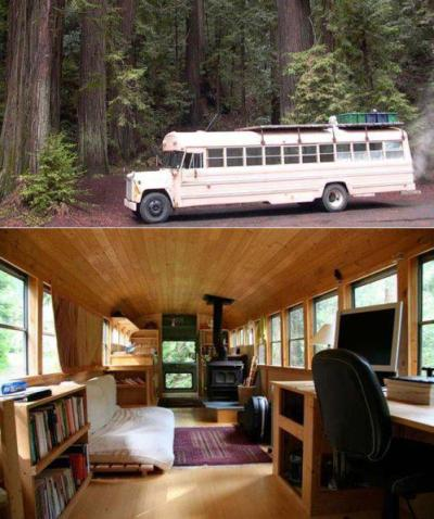 creativehouses:  A retired schoolbus.