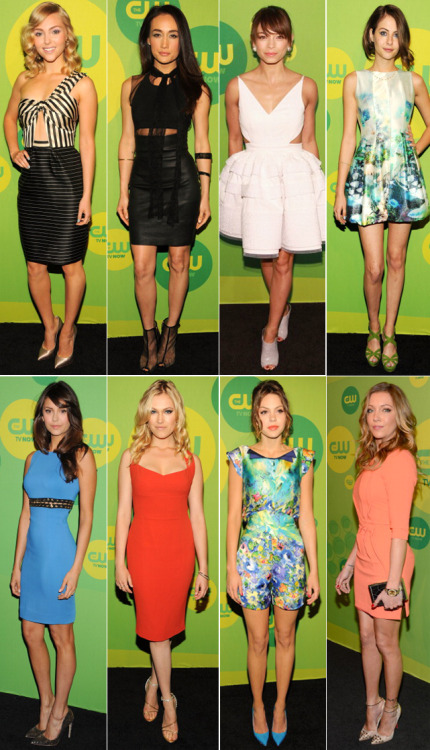 UPFRONTS From left to right: AnnaSophia Robb, Maggie Q, Kristin Kruek, Willa Holland, Nina Dobrev, Eliza Taylor, Aimee Teegarden and Katie Cassidy.