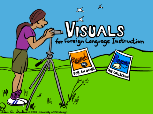 Visuals for Foreign Language Instruction Offers Hundreds of Drawings  Visuals for Foreign Language Instruction is a free gallery of images hosted by the University of Pittsburgh's Digital Research Library. The gallery contains nearly 500 drawings of people conversing, scenes in houses and buildings, and objects commonly found in houses. You'll also find drawings scenes in cities, in stores, and in nature. The visuals are all drawn cartoon style without any text or speech bubbles.