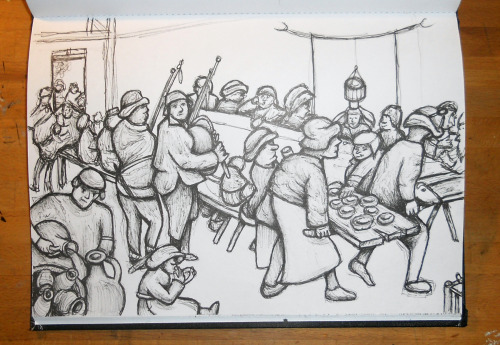 sketch of Peter Bruegel's  'Peasant wedding'