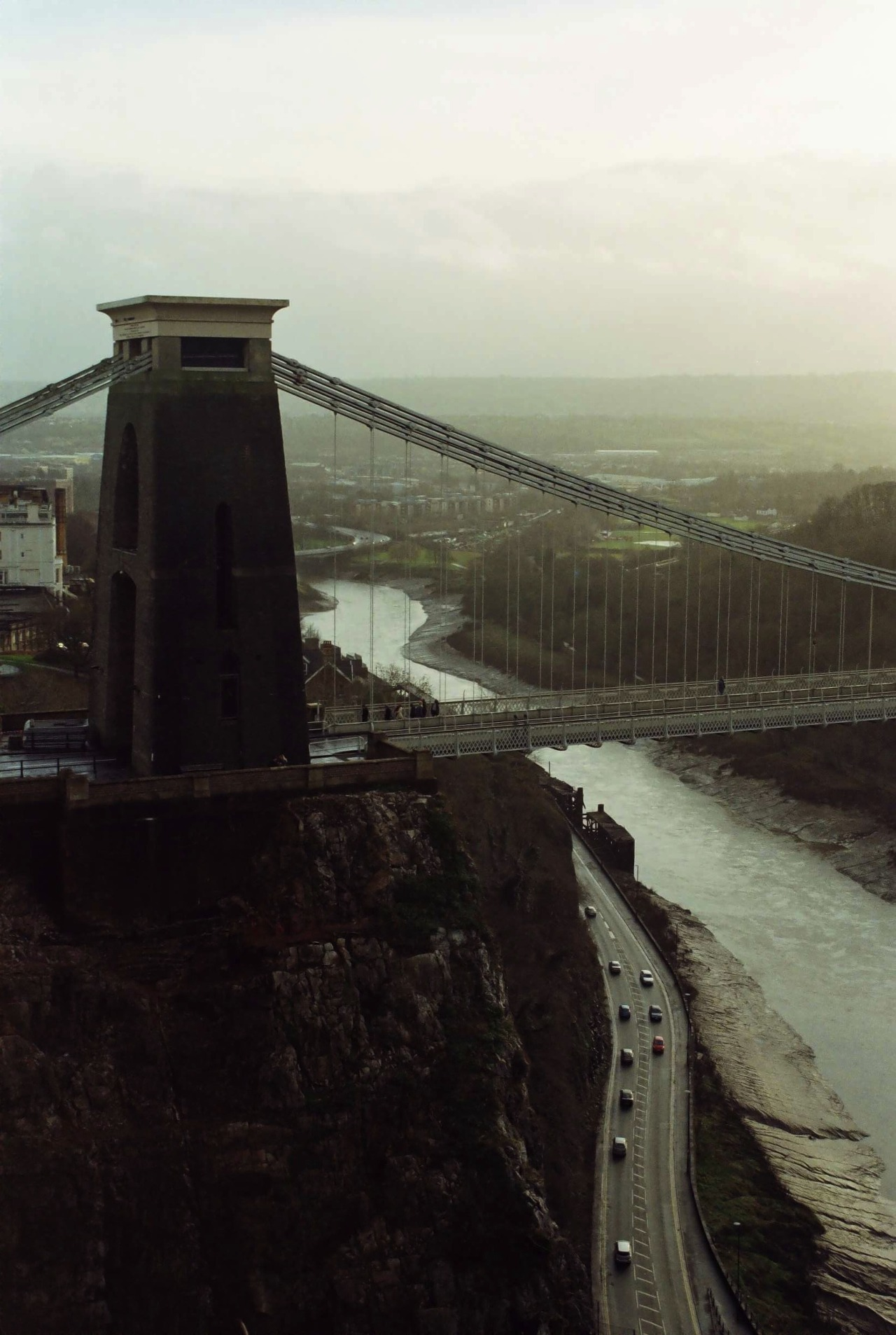 Clifton suspension bridge on a hazy winter's day.