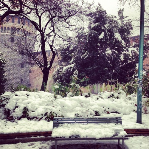 Snowing here in Milano!  (at Milan, Italy)