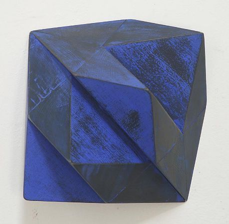 Peter Millett Blue Flap painted wood 11 x 11 x 8 inches