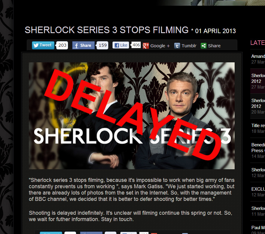 sherlockology:  luciawestwick:  just saw this on sherlockology OMG i can't believe in it(  Just so everyone is aware - this is an April Fools, and NOT by us! Nice try though ;o)  WAIT THIS IS NOT OKAY I NEARLY HAD A HEART ATTACK BUT THEN I REMEMBERED IT COULD BE APRIL FOOLS AND AAAAAAAAAH DON'T YOU DARE EVER DO THIS AGAIN D: