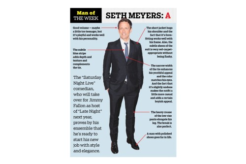 womensweardaily:  Man of the Week: Seth Meyers Photo by Jennifer Graylock/Getty Images