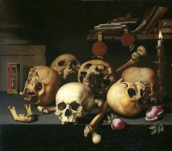 sisyphean-revolt:  Aelbert Jansz. van der Schoor, Vanitas Still Life with Skulls on a Table, 1660