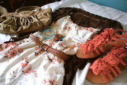 pretty girl cute fashion shoes bag f flowers pink outfit Clothes floral rose roses belt clothing