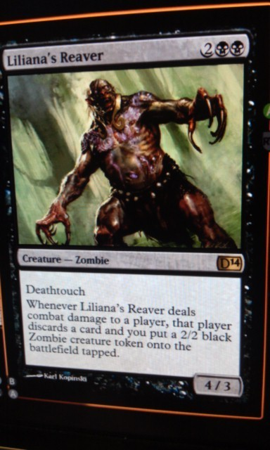 Ooh, this is powerful! 4 damage, a discard and a 2/2 zombie every time it hits. I like that they're still making zombies come into play tapped. I imagine them having to drag themselves off the ground before they begin to shuffle around…  Found on MTGSalvation here:http://m-tg.co/2ypqy