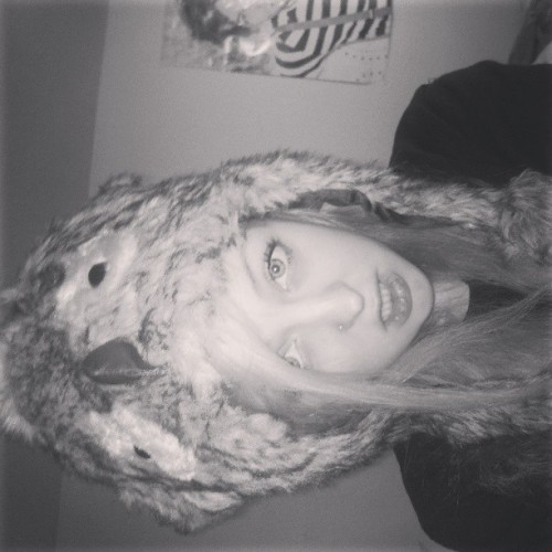 I love my owl hat #cold #owl #hat #blonde #black #white #blonde