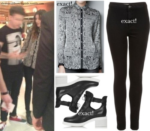 Eleanor with Louis wearing this shirt,these jeans and these shoes! She is also carrying her sold out Mulberry effie