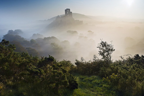transylvanialand:  Corfe Castle mist ii by antonyspencer on Flickr.