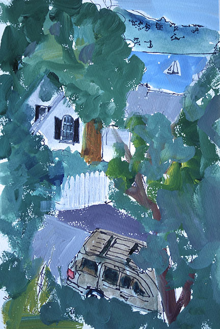 """Perspective, Sausalito Style"" 6"" x 9"" Thinking about what's pleasing in the compositions I see while taking walks up the hill."