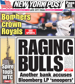New York Post front page for Saturday, May 11, 2013