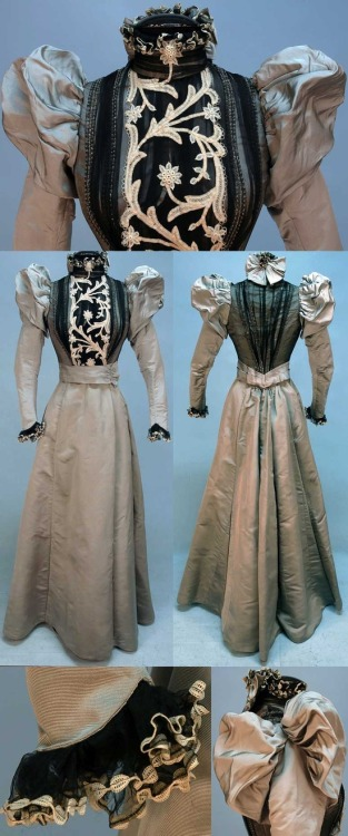 tawnyscostumesandcuriosities:  Dress, 1890s. Two-piece gray silk faille. Boned bodice covered in pleated black chiffon with sequins and crystal beads. Back chiffon insert with cream tape lace. Sleeves puffed front and back, ruffled collar with back bow, ruffled cuff. Skirt lined in polished cotton with velvet hem band. Whitaker Auctions.