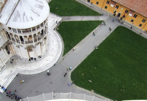 Piazza del Duomo, Pisa, Italy and yes, you get pretty dizzy going in circles to the top of the leaning tower