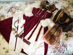 Dress: Angelic Pretty, Blouse: Handmade, Bag: Louis Vuitton, Shoes: Nine West, Tights: American Apparel, Accessories: Offbrand & Handmade  Another variation of my Bookmark JSK ♥