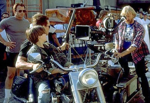 Arnold Schwarzenegger, Edward Furlong and director James Cameron on the set of Terminator 2: Judgement Day (1991).