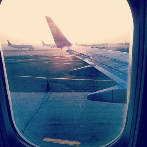 On the plane bitches #plane #airplane #wing #airport #flying #sunrise #vacation