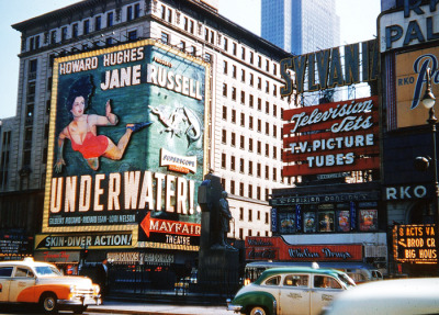 vintagegal:  Jane Russell graces the Mayfair Theatre in Times Square, New York for her film Underwater! (1955)