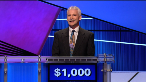 Tonight on Jeopardy!: Time-traveling Alex Trebek, from the past.