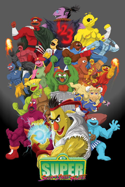 insanelygaming:  Super Sesame Street Fighter Created by Matt Crane  Deam!