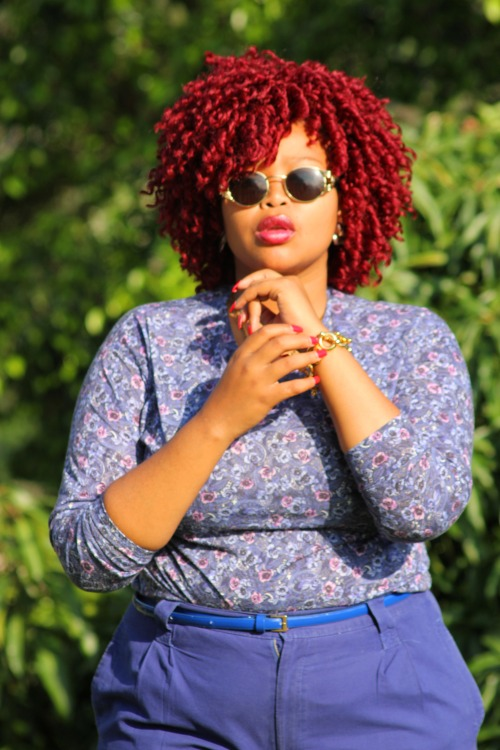 blackfashion:  red hair outfit : second hand thrift Thola_Mhlongo, 22, Durban South Africa