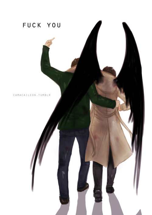 camacaileon:  have a Destiel-Speedpaint because I can't sleep Dean: fuck you Naomi, fuck you God, fuck destiny, fuck everything, Cas is mine  I might make a non-speedpaint version