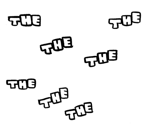 "I tried seven times to draw the word ""the"".  I think I like the lower one on the far left the best, and the lowest one in the middle the second best."