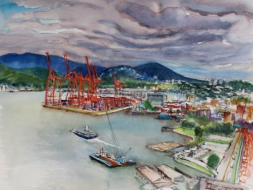 Vancouver Harbour Panorama, a watercolour by Robert Amos. He writes on his site:  When I opened the curtains in my room in Vancouver's Fairmont Waterfront Hotel, I saw the fabulous view of all the complexity of Vancouver's harbour and the view to the east. The container port, helipad, harbour ferry and dredging barge were right there for me to contemplate and paint at my leisure.  Robert recently wrote this article for the Times Colonist about Gary Sim's CD-ROM of British Columbia Artists. Robert is currently artist-in-residence at the Fairmont Empress Hotel, Victoria, and is in the midst of digitizing and transferring some of his collection of art ephemera to the University of Victoria Library and Archives. Bravo, Robert!