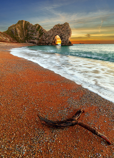 A view looking out from the beach towards Durdle Door by Andy Fox Photography on Flickr.
