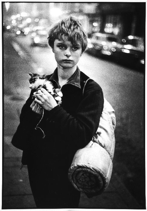 "suicideblonde:   Girl Holding Kitten, London, 1960 (Bruce Davidson)   Bruce Davidson's Best Shot ""I found this young woman quite by accident, as I was walking the London streets. I came upon a group of teenagers, and struck up a conversation. They took me into a cave, and then some kind of huge dancehall. I think it was on an island. It was getting late, and I needed to move on the next morning, so I didn't stay very long.  But I isolated this girl to photograph, holding that kitten, which was probably a stray she had found on the street, and carrying that bedroll wrapped around her body. There was a great deal of mystery to her. I didn't know where she had come from, and I didn't get her name, but there was something about that face - the hopefulness, positivity and openness to life - it was the new face of Britain. The picture was taken with a normal 50mm lens, with a wide aperture. I used the Ilford film, called HPS - hyper-sensitive film - which I loved, although it is probably no longer made. I loved that grainy texture; she has the feeling of a statue. I still feel close to this picture. I wonder what that young girl is doing now. She must be lurking around London someplace, or she may not be alive, you never know.""  (Guardian UK, 2007)   ."