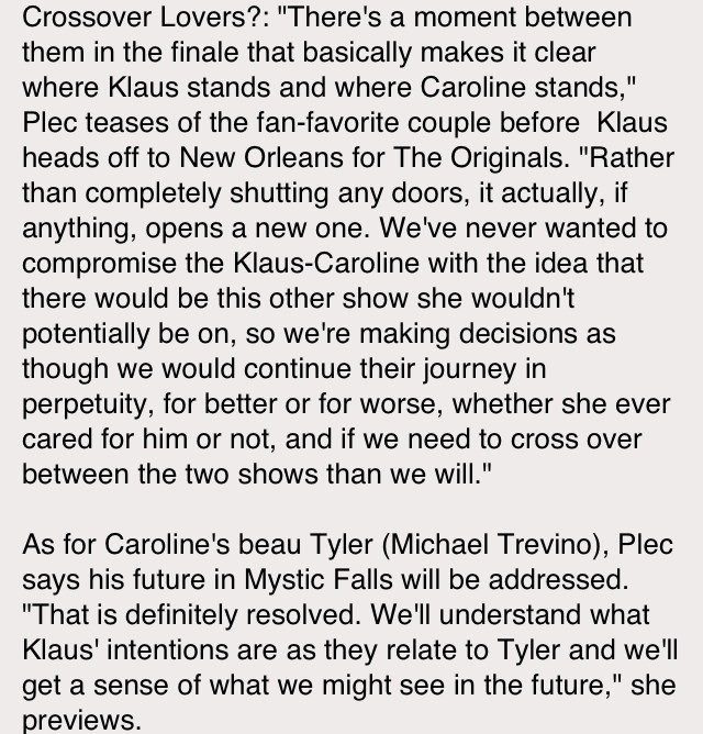 Some Klaroline and Forwood Scoop from TVD's Season 4 Finale via E! Online